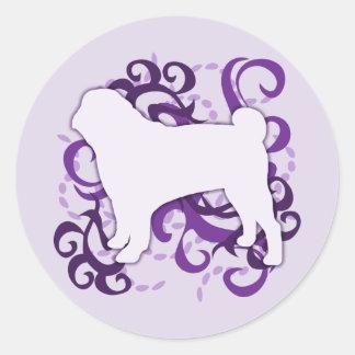 Purple Swirl Pug Round Sticker