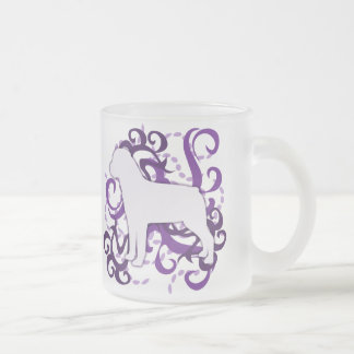 Purple Swirl Rottweiler Frosted Glass Coffee Mug