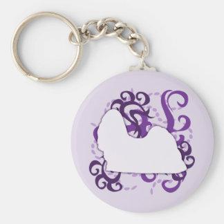 Purple Swirl Shih Tzu Keychain