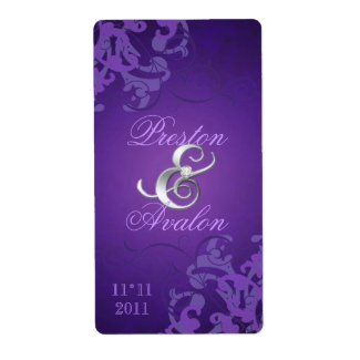 Purple Swirl Silver Jeweled Wedding Wine Label