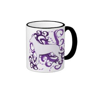 Purple Swirl Smooth Collie Ringer Coffee Mug