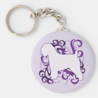Purple Swirl Soft Coated Wheaten Terrier Keychain