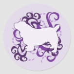 Purple Swirl Sussex Spaniel Stickers