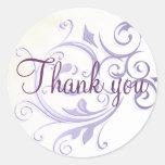 Purple Swirl Thank You Sticker/Seal