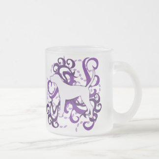 Purple Swirl Treeing Walker Coonhound Frosted Glass Coffee Mug