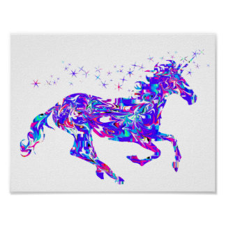 Purple Swirl Unicorn Poster for Kids