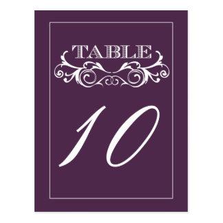 Purple Swirl Vintage Wedding Table Number Cards