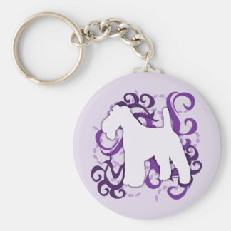 Purple Swirl Wire Fox Terrier Keychain