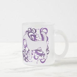 Purple Swirl Wire Portuguese Podengo Frosted Glass Coffee Mug