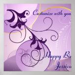 Purple Swirls Birthday Banner Posters