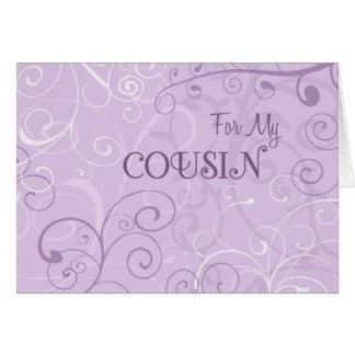 Purple Swirls Cousin Bridesmaid Invitation Card