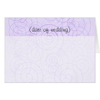 Purple Swirls Folded Guest Place Card