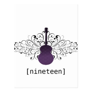 Purple Swirls Guitar Table Postcard