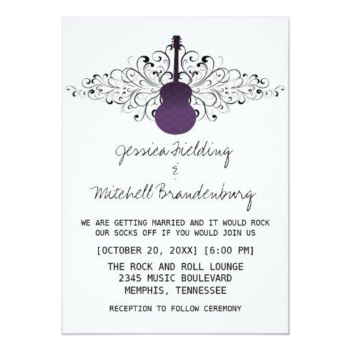 Purple Swirls Guitar Wedding Invitation