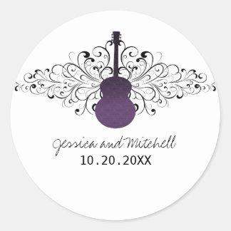 Purple Swirls Guitar Wedding Stickers
