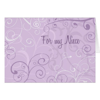 Purple Swirls Niece Thank You Flower Girl Card