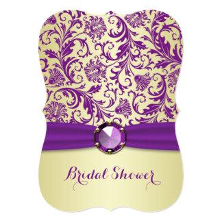 Purple swirls on gold Bridal Shower Invitation