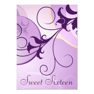 Purple Swirls Sweet Sixteen Party Invitations