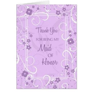 Purple Swirls Thank You Maid of Honor Card