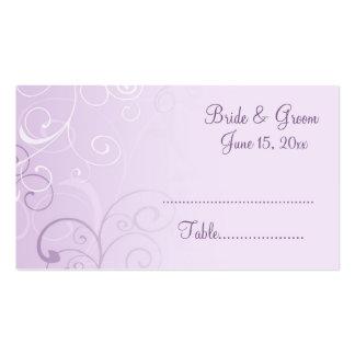 Purple Swirls Wedding Place Setting Cards Business Card