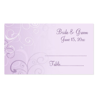 Purple Swirls Wedding Place Setting Cards Double-Sided Standard Business Cards (Pack Of 100)