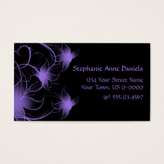 Purple Swirly Flowers on Black Business Card
