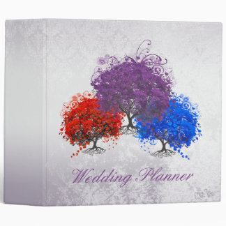 Purple Swirly Romantic Heart Leaf Tree Wedding 3 Ring Binder