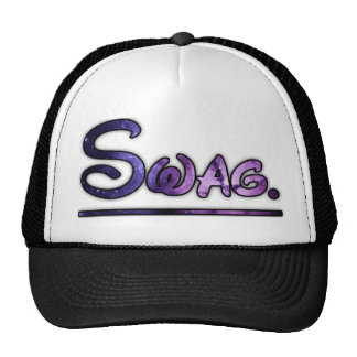 Purple swirly swag space trucker hat