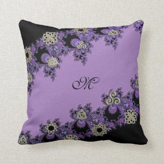 Purple Symbolic Celtic Fractal Monogram Pillow