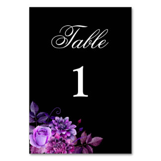 Purple table number. Black wedding. Floral gothic Table Number