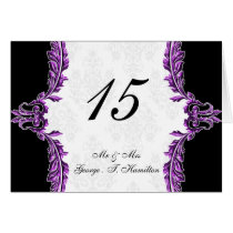 purple table seating card