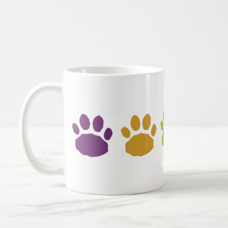 Purple, Tan and Green Animal Paw Prints Coffee Mug