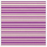 [ Thumbnail: Purple & Tan Colored Pattern of Stripes Fabric ]