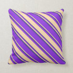[ Thumbnail: Purple, Tan & Dark Slate Blue Lines Throw Pillow ]