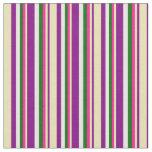 [ Thumbnail: Purple, Tan, Deep Pink, Dark Green & White Lines Fabric ]