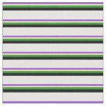 [ Thumbnail: Purple, Tan, Forest Green, Black & White Pattern Fabric ]