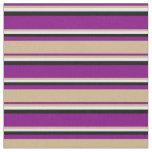 [ Thumbnail: Purple, Tan, Mint Cream & Black Colored Pattern Fabric ]
