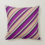 [ Thumbnail: Purple, Tan, Mint Cream & Black Colored Pattern Throw Pillow ]