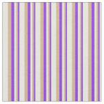 [ Thumbnail: Purple, Tan & Mint Cream Colored Stripes Fabric ]