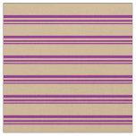 [ Thumbnail: Purple & Tan Pattern of Stripes Fabric ]