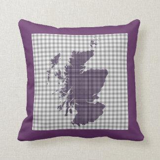 Purple Tartan Map of Scotland Cushion