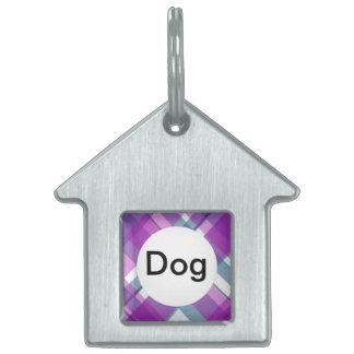 Purple Tartan Pet ID Tag