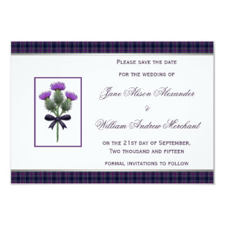 Purple Tartan Plaid and Thistle Save the Date Card