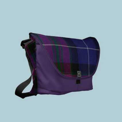 Purple Tartan Plaid Messenger Bag