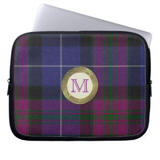 Purple Tartan Plaid Monogram Laptop Cover