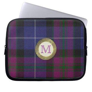 Purple Tartan Plaid Monogram Laptop Cover Laptop Computer Sleeves
