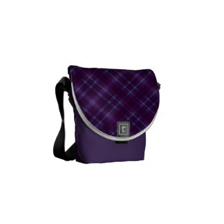 Purple Tartan Plaid Pattern Courier Bag