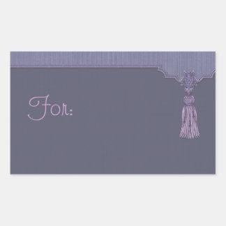 Purple Tassle Gift Tag Rectangular Sticker