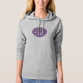 Purple Tatted Lace Round Design Hoodie