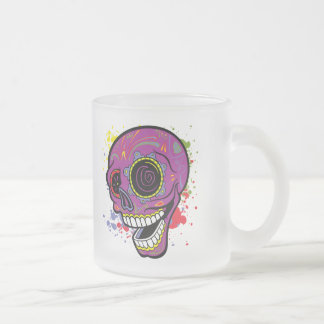 Purple Tattoo Sugar Skull With Paint Splashes Frosted Glass Coffee Mug